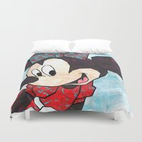 minnie mouse Duvet Covers featuring Minnie Mouse Fan Art by DanielleArt&Design