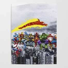 Superhero Lunch Atop A Skyscraper Poster