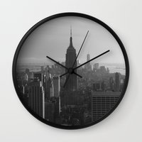 nyc Wall Clocks featuring NYC by Horizon Studio