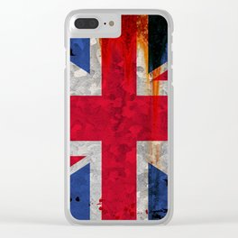 Paint splattered Union flag Clear iPhone Case