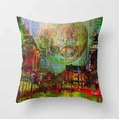 Moon on the city Throw Pillow