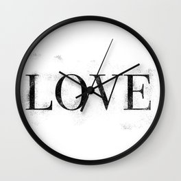 Love - Distressed - Black Letters Wall Clock