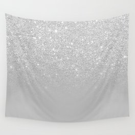 Trendy modern silver ombre grey color block Wall Tapestry