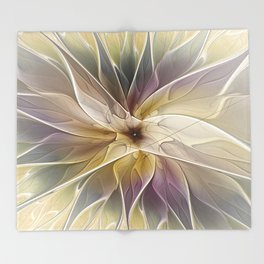 Floral Fantasy, Abstract Fractal Art Throw Blanket