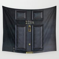 221b Wall Tapestries featuring Classic Old sherlock holmes 221b door iPhone 4 4s 5 5c, ipod, ipad, tshirt, mugs and pillow case by Three Second