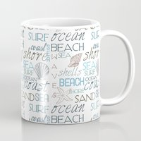 surf Mugs featuring Surf by Zen and Chic