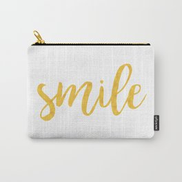 Smile - Yellow Watercolor Happiness Quote Carry-All Pouch