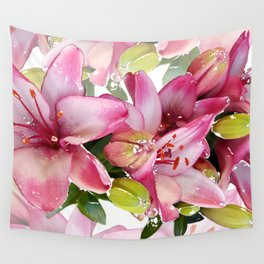 Pink Lilies Wall Tapestry