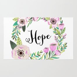 Hope Lettering Watercolor Ilustration Rug