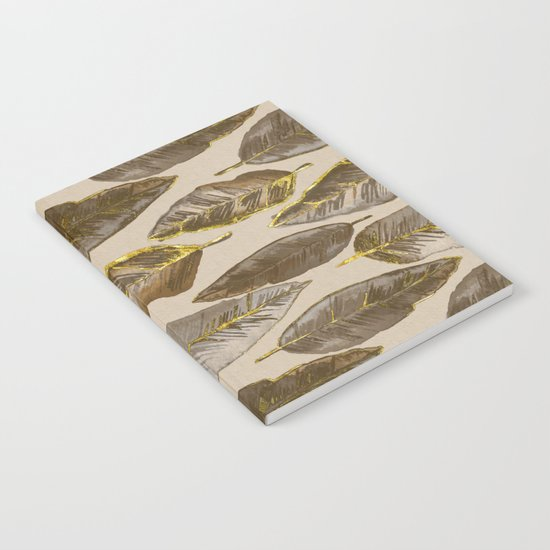 Gold Feather Pattern Notebook