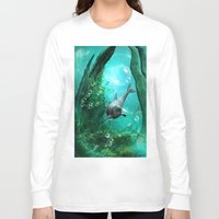 swimming Long Sleeve T-shirts featuring Swimming dolphin by nicky2342