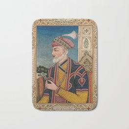A Mughal emperor or member of a royal family holding a turban ornament in profile. Gouache painting Bath Mat