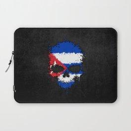 Flag of Cuba on a Chaotic Splatter Skull Laptop Sleeve