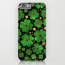 Lucky Shamrock Four-leaf Clover Pattern iPhone Case