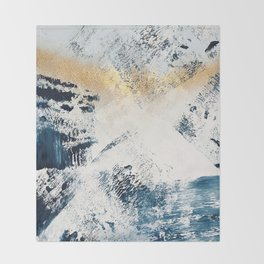 Sunset [1]: a bright, colorful abstract piece in blue, gold, and white by Alyssa Hamilton Art Throw Blanket