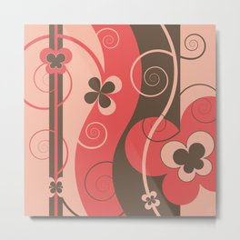 Modern Retro Butterfly Floral Graphic Art Metal Print
