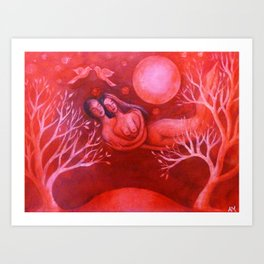 Lovers in a Red Sky Art Print