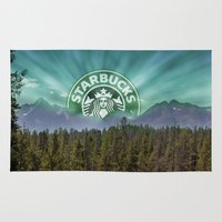 starbucks Area & Throw Rugs featuring Starbucks Is Life by Tumblweave