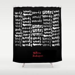 Words-Black Shower Curtain
