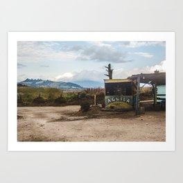 Typical wooden shack bar selling Colombia's Cerveza Aguila national beer in the countryside Art Print