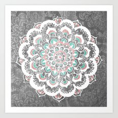 Pastel Floral Medallion on Faded Silver Wood Art Print
