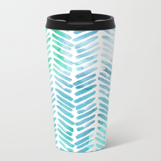 Handpainted Chevron pattern - light green and aqua - stripes #Society6 Metal Travel Mug