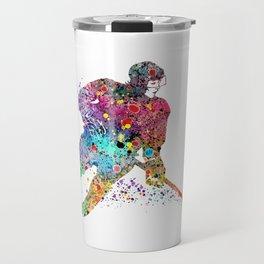 Girl Ice Hockey Sports Art Print Travel Mug