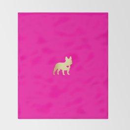 French Bulldog Gold Throw Blanket