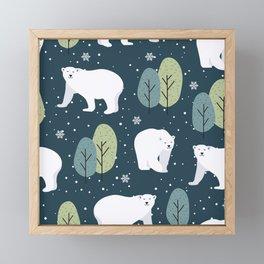 Christmas Night Bear Framed Mini Art Print