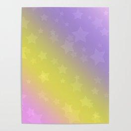 Star rain yellow, pink . Poster