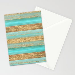 Turquoise Brown Faux Gold Glitter Stripes Pattern Stationery Cards