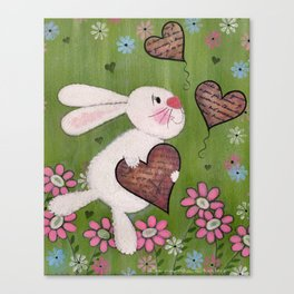 Some Bunny Loves You - Rabbit Delivers Love Letters Easter Kids Art Canvas Print