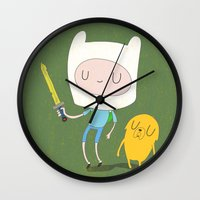 finn Wall Clocks featuring Finn & Jake by Rod Perich
