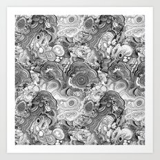 Malachite black and white Art Print