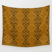 matrix Wall Tapestries featuring Matrix Recall - Golden Gothic Abstract by Bud M
