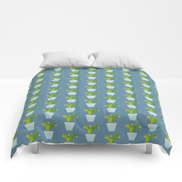 Blooming Cactus | Steel Blue Comforters