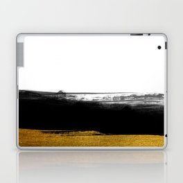 Black and Gold grunge stripes on clear white background - Stripe - Striped Laptop & iPad Skin