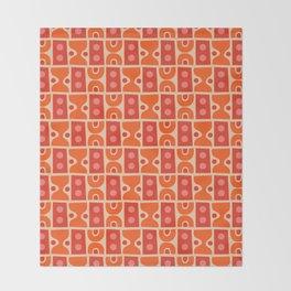 Mid Century Abstract Pattern Orange & Red Throw Blanket
