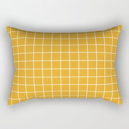 Marigold - orange color - White Lines Grid Pattern Rectangular Pillow