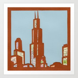 Chicago Skyline Collage Art Print