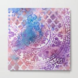 Abstract Ink & Watercolor - Mandala Metal Print