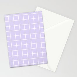 Lavender white minimalist grid pattern Stationery Cards