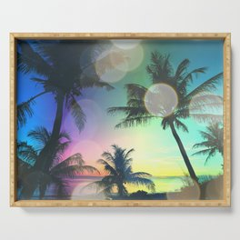 Summer Dreams : Pastel Palm Trees Serving Tray