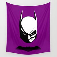 gotham Wall Tapestries featuring Black & White Gotham Knight by tuditees