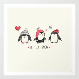 Let it snow penguins Art Print