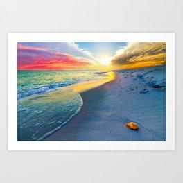 Sunset Wall Art Beach Shell Landscape Print  Art Print