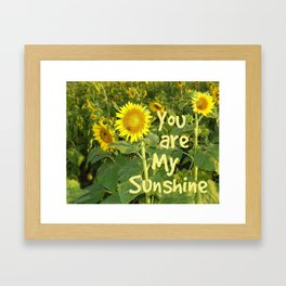 Sunflower Art // You are My Sunshine, Art with Bees Framed Art Print
