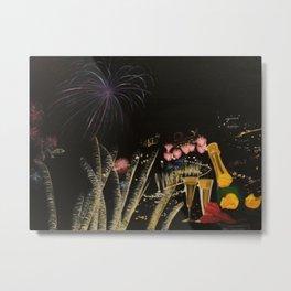 Fogo de artificio fim de ano na Madeira! Metal Print
