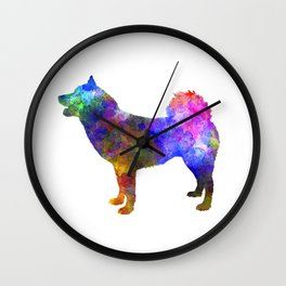 Greenland Dog in watercolor Wall Clock