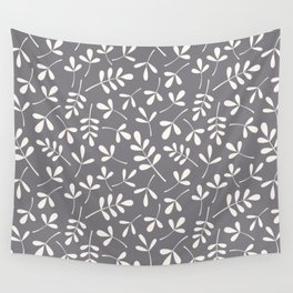 Assorted Leaf Silhouettes Cream on Grey Ptn Wall Tapestry